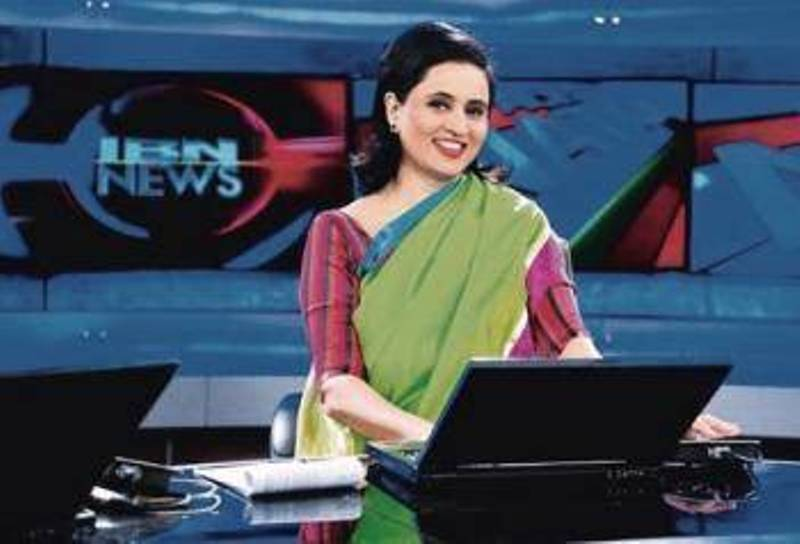 Sagarika Ghose while anchoring on IBN news channel