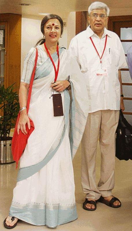Brinda Karat with her husband