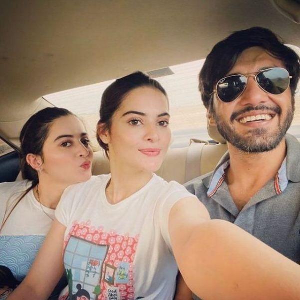 Ahsan Mohsin Ikram with Minal and Minal's twin sister Aiman Khan