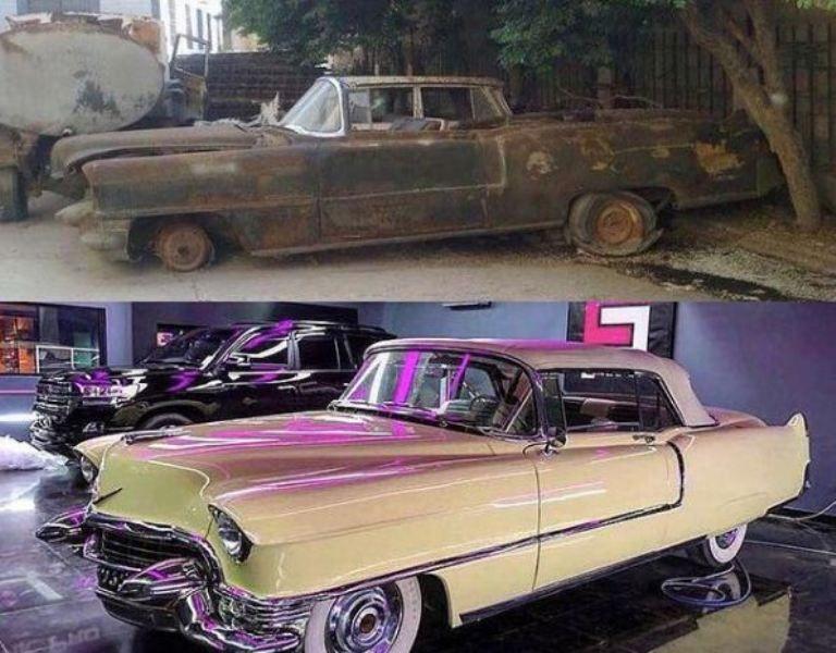 Fatima Jinnah's restored car in Ahsan Mohsin Ikram's restoration garage of 'Ikram Motor work'