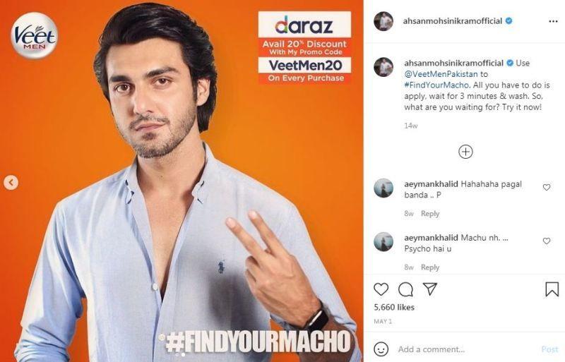 Ahsan Mohsin Ikram's Instagram post promoting Veet Men Pakistan