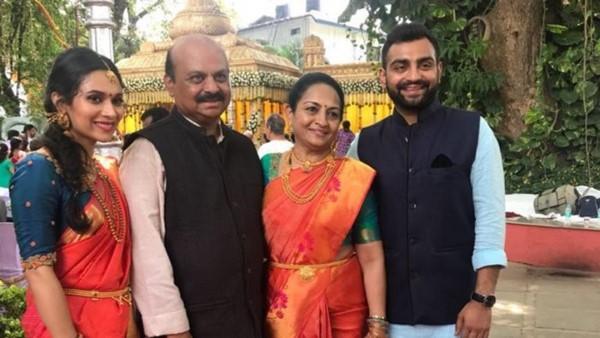 Basavaraj Bommai with his wife, Chennamma, and his children, Bharat and Aditi