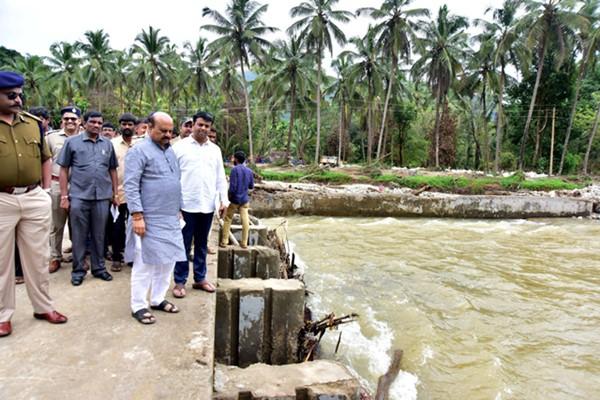 Basavaraj Bommai inspecting a small dam near Udupi district